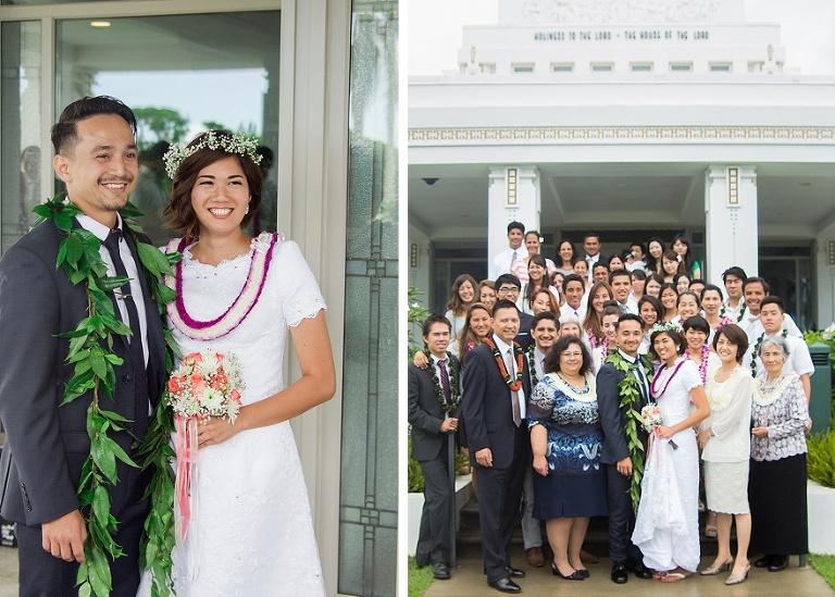 Hawaiian style wedding photo