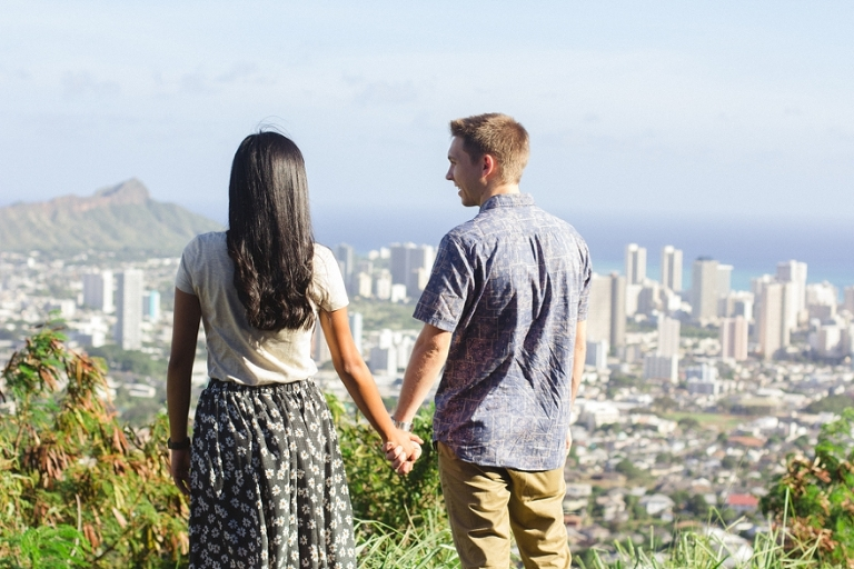 Waikiki view couple photo