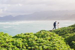 Bridal photo at Laie Point