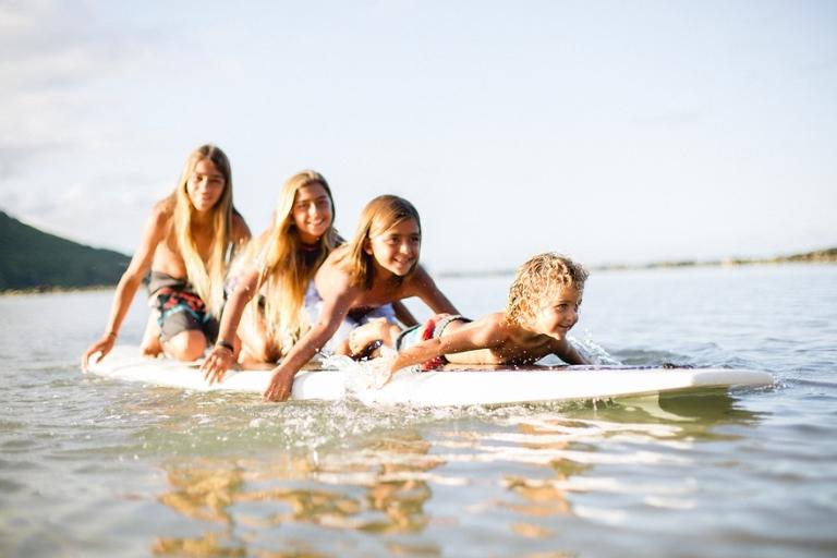 Hawaii keiki on surf boad