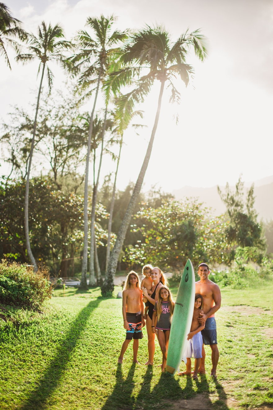 Lifestyle surfing family portrait